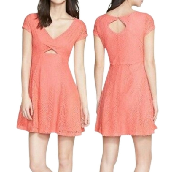 Jessica Simpson Kaitlee Lace Fit Flare Coral Dress